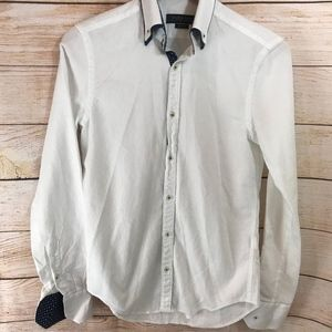 Zara Mens White Button Down Shirt Slim Fit Small